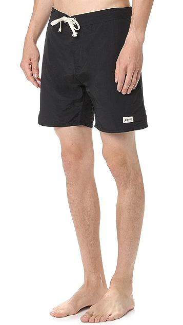 Bather Solid Black Surf Trunks