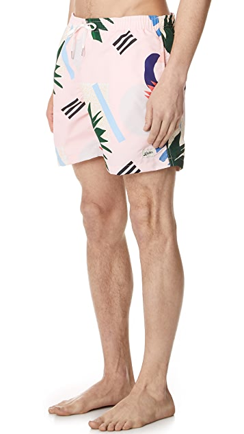 Bather Abstract Palms Swim Trunks