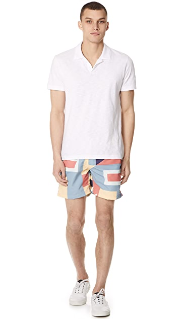 Bather Nautical Flags Swim Trunks