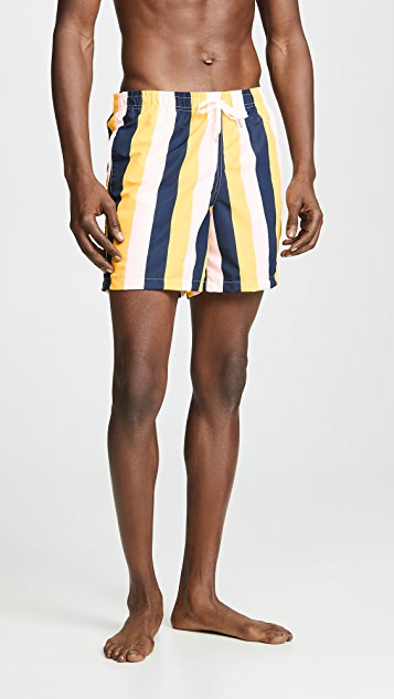 Bather Pink Yellow Stripe Swim Trunks