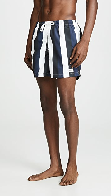 Bather Blue Black Stripe Swim Trunks