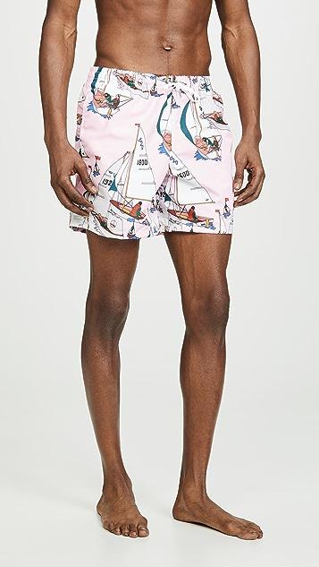 Bather Pink Sailboat Print Swim Trunks