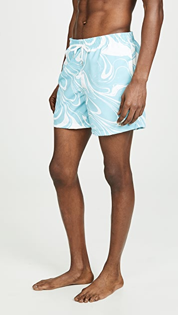 Bather Blue Marble Print Swim Trunks