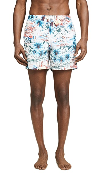 Bather Daytime Hawaii Print Swim Trunks