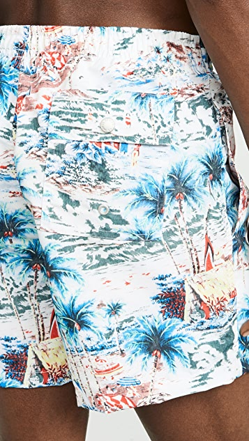 Bather Daytime Hawaii Print Swim Trunks