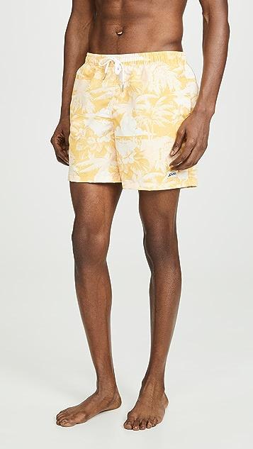 Bather Yellow Palm Tree Print Swim Shorts