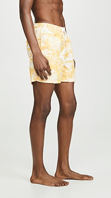 Bather Yellow Palm Tree Print Swim Shorts