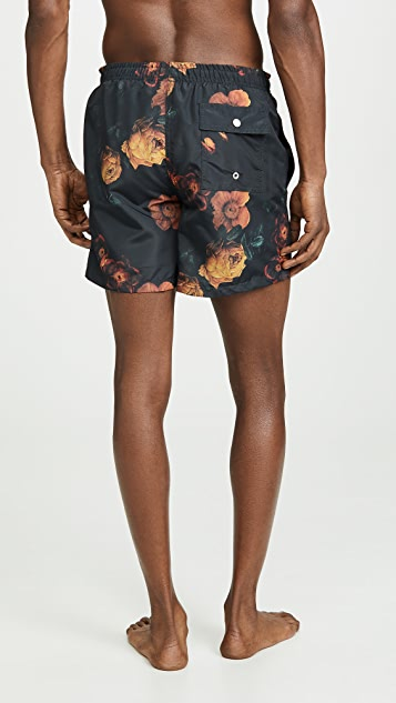 Bather Midnight Bouquet Print Swim Trunks