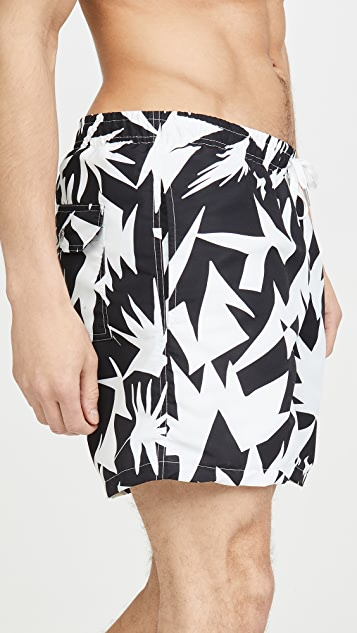 Bather Black Abstract Swim Shorts