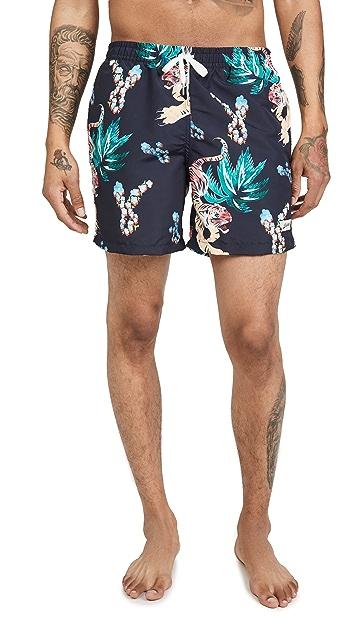 Bather Hawaiian Tiger Swim Shorts