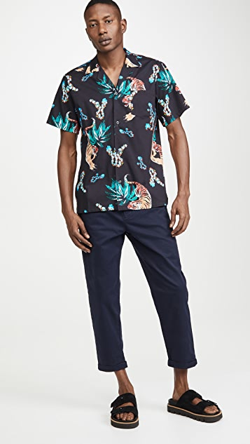 Bather Short Sleeve Hawaiian Tiger Shirt