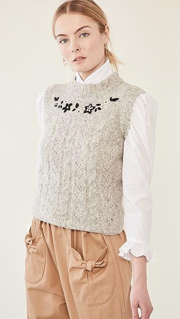 BATSHEVA Embroidered Knit Vest