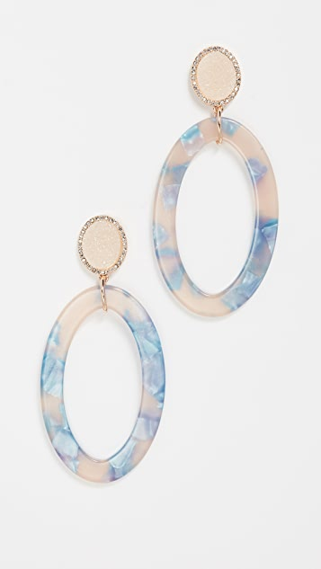 BaubleBar Round Druzy Stud Earrings - Blue Multi