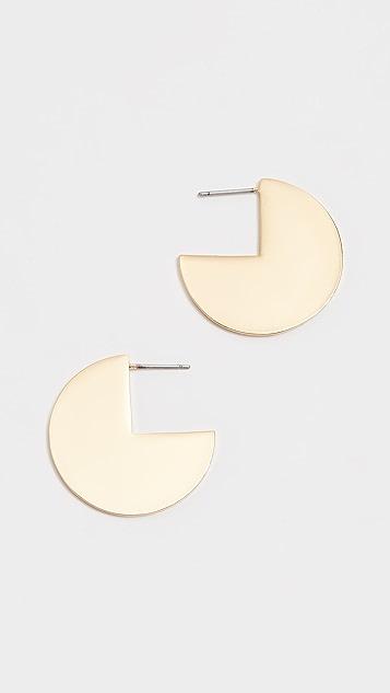 BaubleBar Geo Metal Cut Off Circle Earrings
