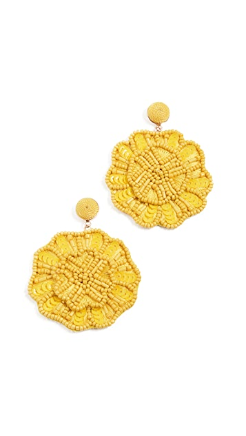 BaubleBar Large Bead and Sequin Floral Drop Earrings