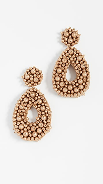 Fully Beaded Oval Earrings by Bauble Bar