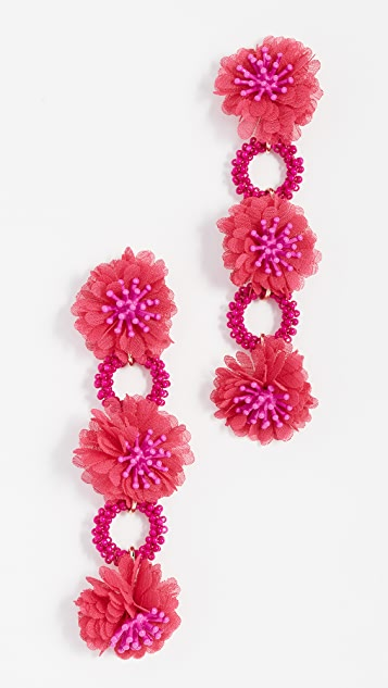 BaubleBar Three Flower Drop Beaded Earrings