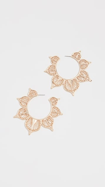 BaubleBar Metal Lace Leaf Earrings