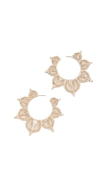 BaubleBar Metal Lace Leaf Earrings