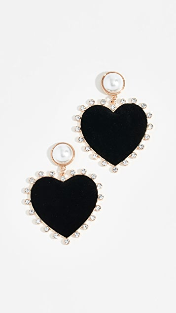 BaubleBar Imitation Pearl Studs with Fabric Heart Earrings