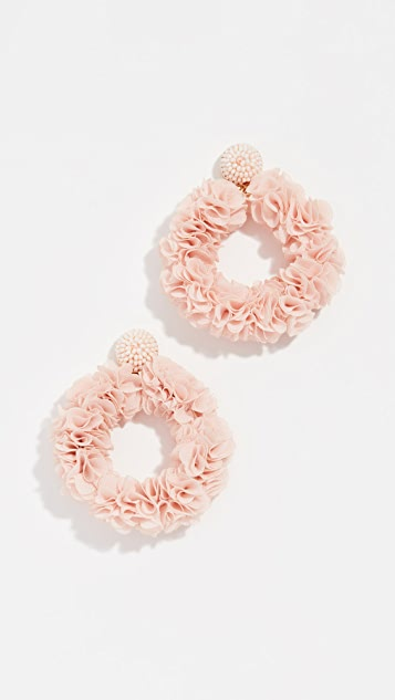 BaubleBar Camellia Flower Hoop Earrings