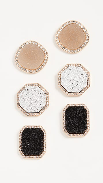 BaubleBar Set of 3 Druzy Stud Earrings