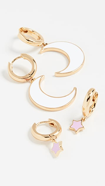 BaubleBar Moon and Star Earring Set