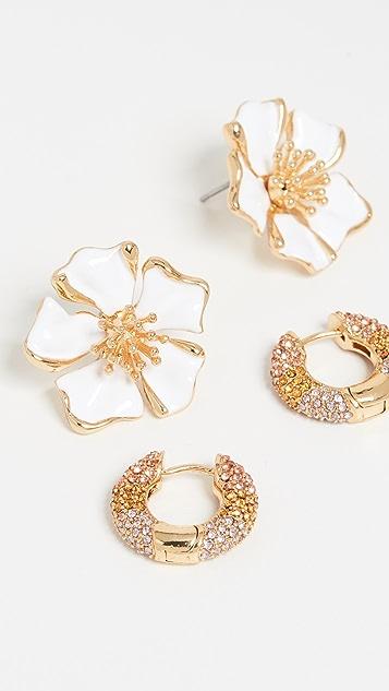 BaubleBar Flower and Huggie Earring Set