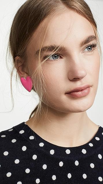 BaubleBar Enamel Heart Stud Earrings