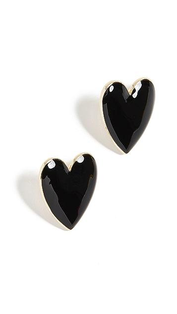 BaubleBar Эмалированные серьги-гвоздики в виде сердечек