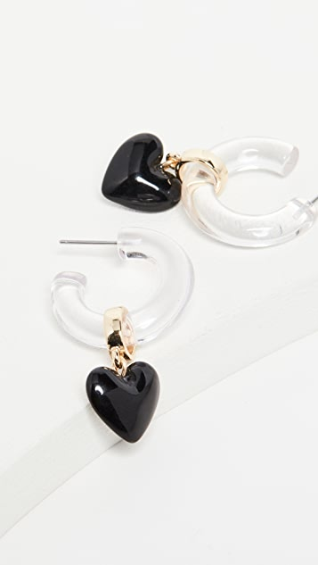 Huggie Earrings With Hearts by Bauble Bar