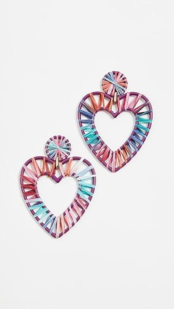 BaubleBar Regina Rafia Heart Earrings