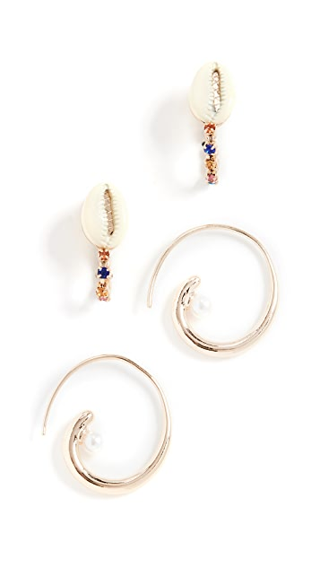 BaubleBar Set of 2 Coral Earrings