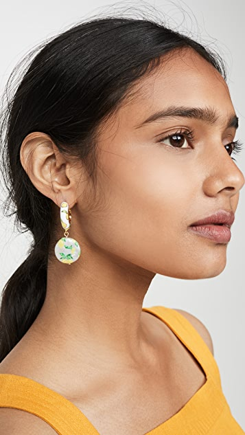 BaubleBar Lemon Huggie Drop Earrings