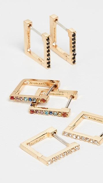 BaubleBar Set of 3 Square Huggie Hoop Earrings