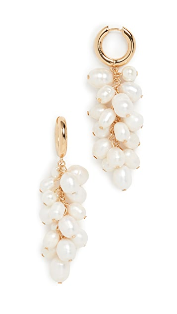 BaubleBar Cluster Pearl Huggie Earrings