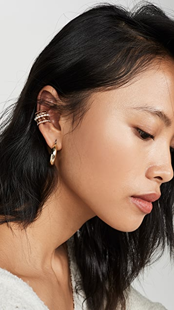 BaubleBar Imitation Pearl and Pave Ear Cuff
