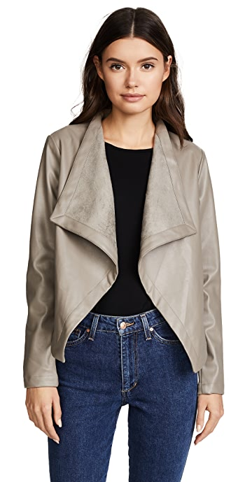 BB Dakota Peppin Vegan Leather Drapey Jacket - Toffee