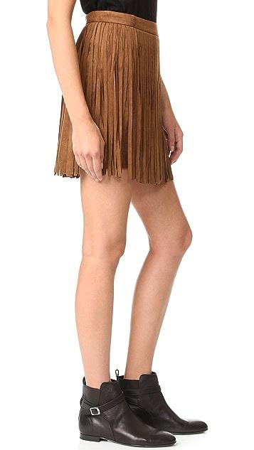 BB Dakota Barton Faux Suede Fringe Skirt