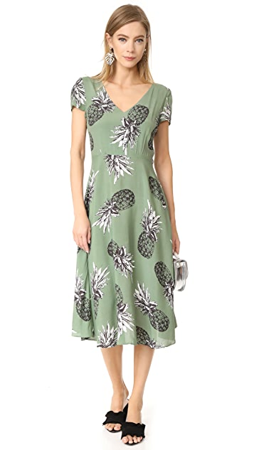 BB Dakota Emilienne Pineapple Printed Tie Back Dress