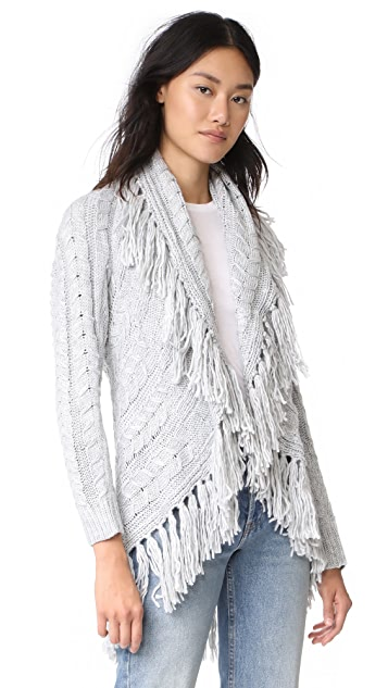 BB Dakota Karli Fringe Shawl Collar Cardigan