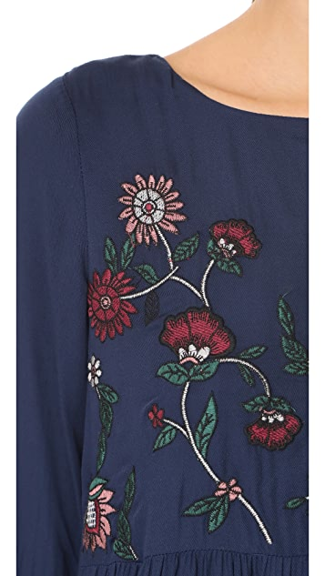 BB Dakota Bria Embroidered Tie Back Dress