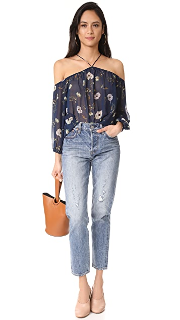 BB Dakota Madeline Camellia Printed Off Shoulder Top