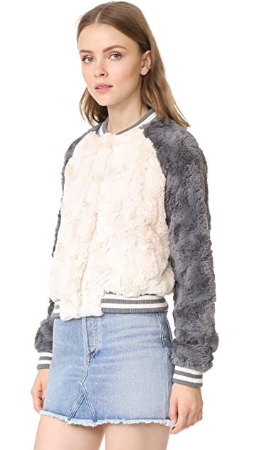 BB Dakota Aisen Faux Fur Color Blocked Bomber