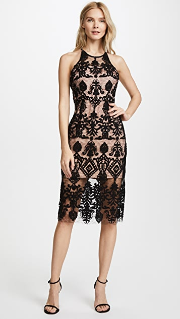 BB Dakota RSVP Beaded Lace Strappy Back Midi Dress