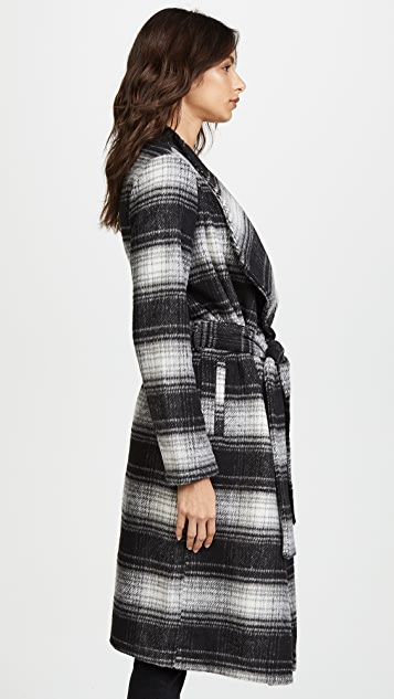 BB Dakota Sisson Plaid Drape Front Coat