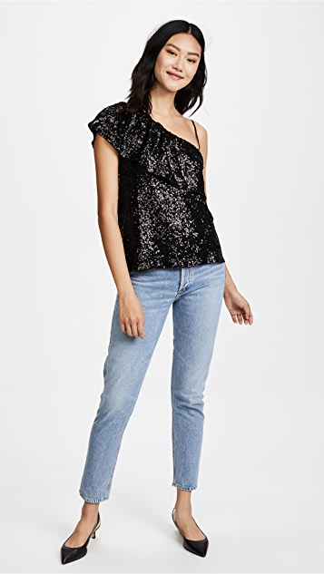BB Dakota Clair One Shoulder Sequin Ruffle Top