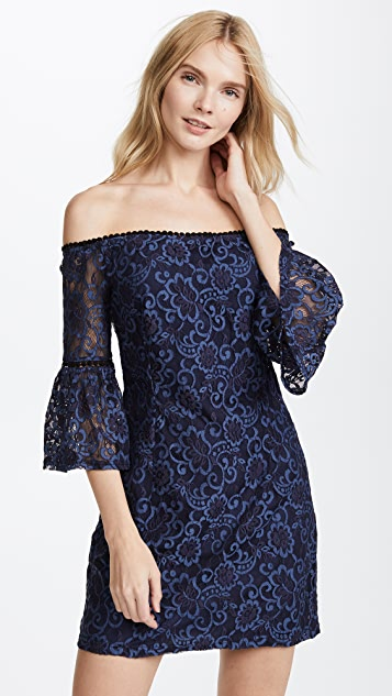 BB Dakota Off Shoulder Two-Tone Lace Dress