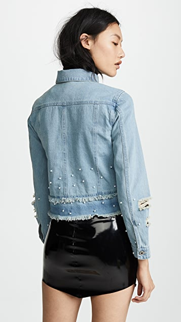 BB Dakota Eisley Denim Jacket with Imitation Pearls