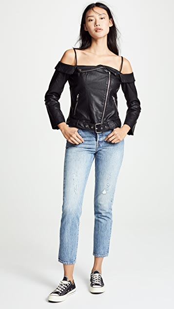 BB Dakota Sandra Off Shoulder Vegan Leather Jacket